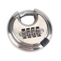 4-Digit Combination Security Round Padlock Resettable Lock Heavy Duty Stainless Outdoor Shed Locker Theft Protection