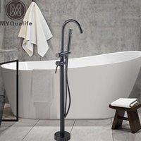 Conjuntos do chuveiro do banheiro MyQualife montado montado Chrome Banheira Torneira Clawfoot Livre Misturador Torneira com Handshower Single Lever Banheira