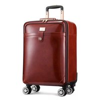 Suitcases Brand 100% Real Cowhide Travel Suitcase Business Leather Retro Rolling Luggage High Quality Luxury 16 20 Inch Valise