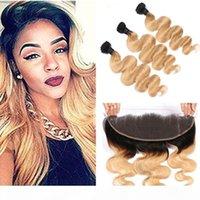 Malaysian Honig Blonde Ombre Menschliches Haar webt mit Frontals Body Wave 1b 27 Ombre Hair Bündel Beschäftigte mit 13x4 Spitze Frontal-Schließung