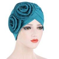 Tücher Zwei große Blumen Aufkleber Indian Hut Multicolor Muslim Mode Kopfschmuck