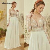 Other Wedding Dresses Vestidos Deep V-neck Boho With Long Sleeves Chiffon Beach Bride Dress Plus Size Bridal Gown 2021 Suknia Slubna1