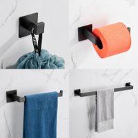 Viscosidade forte adesivo 4 peças banheiro acessório conjunto matt preto toalha barra rack de roupão gancho tecidos toalete de papel higiênico oxidável 304 aço inoxidável