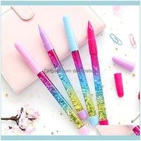 Ballpoint canetas escrevendo suprimentos escritório escola negócios industrialcute 0.7mm arco-íris cor fada vara de areia glitter cristal bola apontar