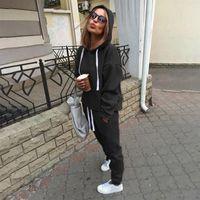 2pcs Sets Fashion Hooded Tops Sweatshirt+Solid Long Pants Suits Women Female Tracksuits Clothing GAOKE Women's & Blazers