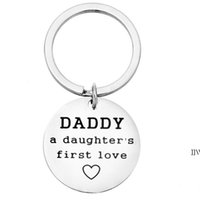 Father's Day Personalized Gift Stainless Steel Keychain Pendant Round Car Key Chain Luggage Decoration Family Keyring AHA5331