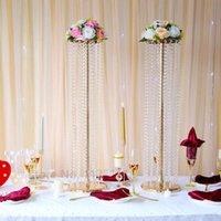 Mumluklar Lüks Kristal Çiçek Standı Düğün Centerpieces Katta, Tall Metal Düzenleme Stand, Düğün için Masa Vazo