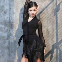 Vestido de baile latino de gran tamaño Nuevo adulto femenino delgado falda de borla sexy con cuello en V Malla de manga larga vestidos de rendimiento DL6604