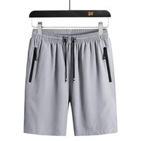 Men's Shorts Summer Zipper Pocket Casual Male Ice Silk Large Size Quick-drying Pants Sports Cool Beach