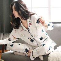 Pliktea Kadınlar Pamuk Pijama Set Karikatür Homewear Ev Giysi Lounge Uzun Kollu Kadın Pijama Giyim 210809