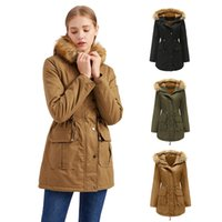 2021 New Style Arrive Women's Cotton Winter Coat Thicken Warm Long Jacket with Fur Trimmed Hood down jacket Parkas