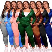 Designer Women Plus Size Tracksuits Solid 2 Two Piece Pink Velour Sweatsuits Long Sleeve Hoodies Jacket + Sweatpant Set XL-XXXXL