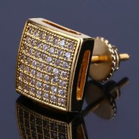 Mens Hip Hop Stud Earrings Jewelry Fashion Gold Silver Simulated Diamond Square Earring For Men