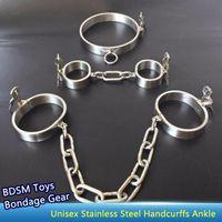 Neue Kragen Handgelenk Knöchel Manschetten Siamese Edelstahl Heavy Duty Ketten Kabelbund Bondage Gear Erwachsene Sklave BDSM Set