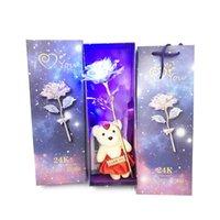 Flores Decorativas Grinaldas Folha Plated Galáxia Galáxia Rose Flower Dia dos Namorados Presente Amantes Romântico com Lâmpada Vibradora PO Base de quadro