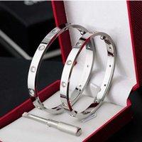 Nagelschraube Charm Armband Design Frau Mann Armband Luxus Schmuck Designer Edelstahl Paar Geschenk Silber Rose Gold Diamant Belt Box