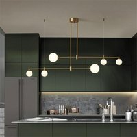 Pendant Lamps Nordic Luxury Straight Glass Ball Lights Restaurant Modern All-copper Bar Lamp Gold Copper Hanging Fixtures