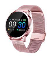 Q8 OLED 블루투스 스마트 시계 스테인레스 스틸 방수 착용 장치 Smartwatch 손목 시계 남성 여성 피트니스 트래커 수면 모니터