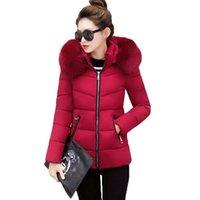 Women's Down & Parkas Winter Women Jacket Hooded Coat Fur Collar Thicken Warm Short Female Plus Size 4XL Outerwear Parka Ladies Basic