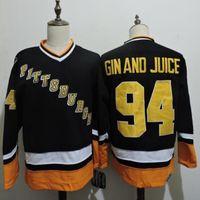 Benutzerdefinierte 94 Gin und Saft Pittsburgh Pinguins Vintage CCM Günstige Hockey-Trikots Schwarzer Mann Retro Genähtes Jersey