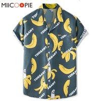 Men's Casual Shirts Summer Button Up V-Neck Mens Shirt Tops Short Sleeved Banana Print Camisa Hombre Verano Baggy Hawaii Blouse Men Women