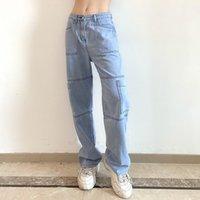 Pantalones para mujer Pantalones para mujer 2021 Moda High Cintura Alta Línea de costura Personalidad Pantalones de pierna recta Pantalón de la vaquera Botón de bolsillo Casual