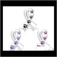 Broches de ruban Femmes EnaMel Pet Paw Printes Épingles et chat Chien Memorial Pin Mémoire Black Broche Blue Broche Métal Badge Satin Cut17 Mujmc