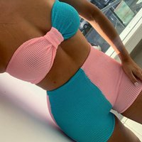 Women's Tracksuits ZHYMIHRET Pink Blue Pachwork Bra And Shorts Two Pieces Set 2021 Tube Top Sets Sexy Backless Summer Clothes For Women