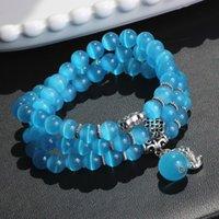 Bransoletka Zroszony StrandSthree Kręgi Cat Eye Opal Damska Biżuteria indywidualnie zapakowane kilka kolorów Anti-Rediation Giflrs Prezent 3550 Q2