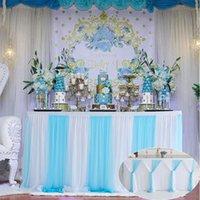 Gonna da tavolo a strisce filato netto tovaglia di nozze casa per banchetti decorazione dessert stoviglie panno per la festa di compleanno del bambino