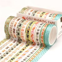 10PCS Set Gold Foil Washi Tape Cute Masking Tapes Decorative Adhesive Sticker Scrapbooking DIY Stationery KDJK2105 2016