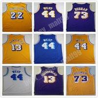 Erkekler Vintage Basketbol Wilt Chamberlain Jersey 13 Dennis Rodman 73 Jerry West 44 Elgin Baylor 22 Dikişli Yüksek