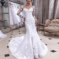 Other Wedding Dresses Long Sleeves Sheer Nude Tulle Neck Slim Fit Mermaid Dress 2021 Lace Appliques Beaded Sweep Train Marriage Bridal Gowns