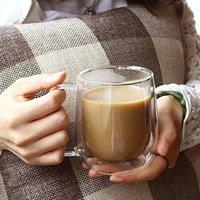 Wine Glasses Double Wall Glass Mug Resistant Tea Beer Milk Juice Cup Drinkware Lover Coffee Cups Gift Creativity