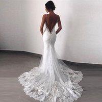 Очаровательная белая русалка кружева открытая спина свадебные платья свадьбы спагетти ремешки свадьбы свадебные свадебные платья для невесты 2021