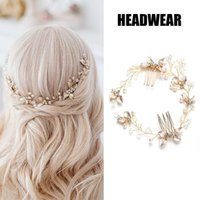 Hair Clips & Barrettes Golden Leaf Hairpin Headdress Comb Back Accessories Bridal Wedding Decoration MAEA99