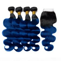 1B Blue Ombre Indian Wavy Human Hair Weave Bundles with Closure Black Roots Dark Blue Ombre Hair Wefts Extensions with 4x4 Lace Closure