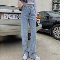 Women's Jeans Women High Waist Double Buckles Denim Pants Straight Bell Bottom Side Split Flared Trousers Fashion Blue