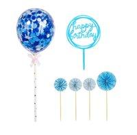 Fabrika mutlu doğum günü pastası toppers dekorasyon kağıt fanlar akrilik cupcake topper konfeti balon süslemeleri set