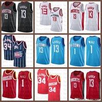 2021 NUEVO Jersey de baloncesto HoustonRocket Mens John 1 Wall James 13 Harden Hakeem 34 Olajuwon Malla Retro Amarillo