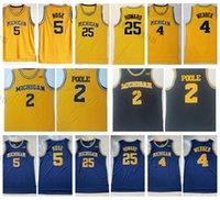 남성 NCAA 미시간 울버린 대학 농구 유니폼 빈티지 4 Chris Webber 5 Jalen Rose 25 Juwan Howard 2 Jodan Poole Jersey 블루 옐로우 스티치 셔츠 S-XXL