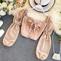 Único Tops Tops corta corta coreano linda camisa sólida suelta soplo mangas blusa cuello cuadrado 2021 moda ropa femenina 430 Blusas de las mujeres