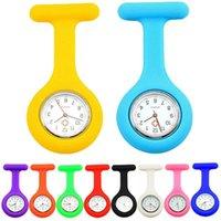 Relojes de bolsillo Clip de color sólido en analógico Digital Lindo Silicón Reloj de alta calidad Broche Túnico Movimiento de cuarzo
