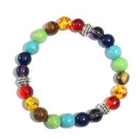 Braccialetti perline all'ingrosso, 7 bracciale chakra, gioielli in pietra naturale della pietra preziosa di cristallo per le donne Meditazione yoga