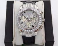 남성 크로노 그래프 시계 전체 포장 직사각형 크리스탈 다이아몬드 다이얼 베젤 자동 7750 무브먼트 ETA 시계 남자 무지개 116599 Valjoux 가죽 스트랩 손목 시계