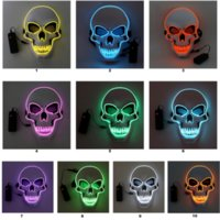 Halloween Skeleton Party LED Mask Glow Scary EL-Wire Skull Masks for Kids NewYear Night Club Masquerade Cosplay Costume