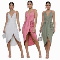 Spaghetti Strap Elegance Pleated Dresses for Women Deep V Neck Sleeveless Party Club Dress Office Lady Evening Midnight Dress