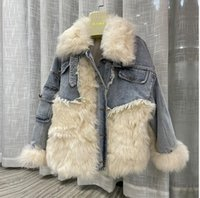 New Autumn European and American winter 2021 new denim stitched Tuscany fur integrated fur coat Korean version young style dress2017
