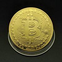 BTC التذكارية عملة الفنون الحرف العملات العتيقة عملات مع علبة بلاستيكية هدية مطلية بالذهب والذهب الوردي الذهب