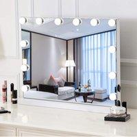Amazon Hot Säljare 58 * 46cm Desktop Hollywood Spegel med 15 st Lampor Tre färg av ljusdimbar ljusstyrka